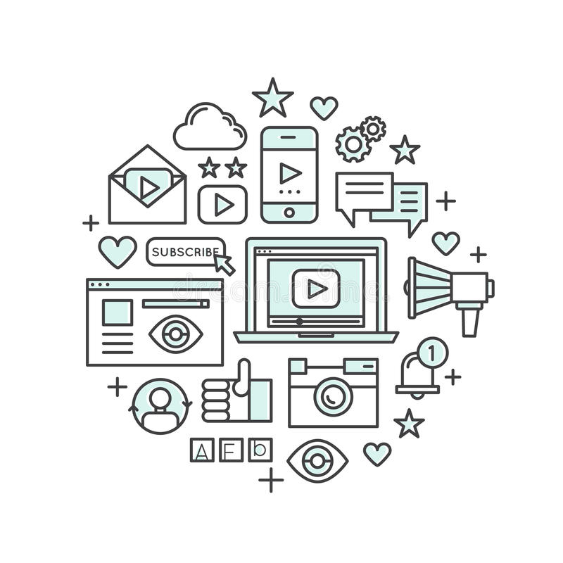 Konzept der Multimedia-Anwendung, des Boten, des Videos und des Musik-Spielers, Widget des Sozialen Netzes, wie, Anerkennung stock abbildung