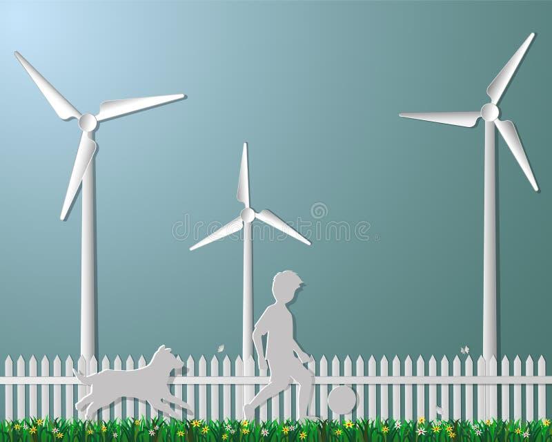Konzept der Natur und des eco freundlich, Kind, das Fußball mit d spielt stock abbildung