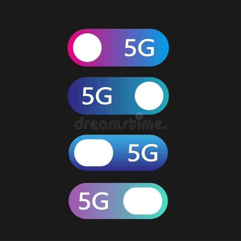 Konzept der Netze 5g Stellen Sie von den modernen materiellen Artkn?pfen des Vektors ein Verschiedene Steigungsfarben ENV 10 lizenzfreie abbildung