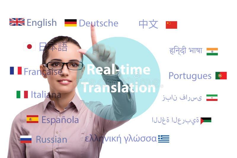 Konzept der Online-Übersetzung von der Fremdsprache lizenzfreies stockfoto