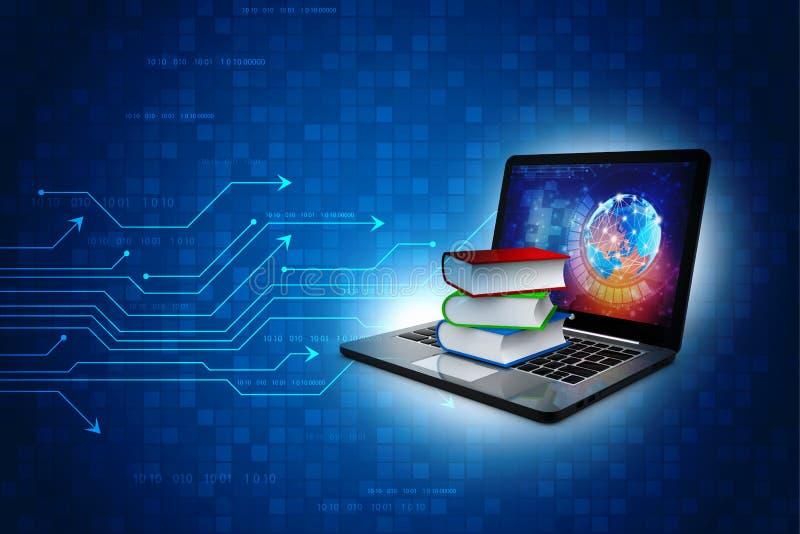 Konzept der Online-Bibliothek im Technologiehintergrund 3D-Darstellung vektor abbildung