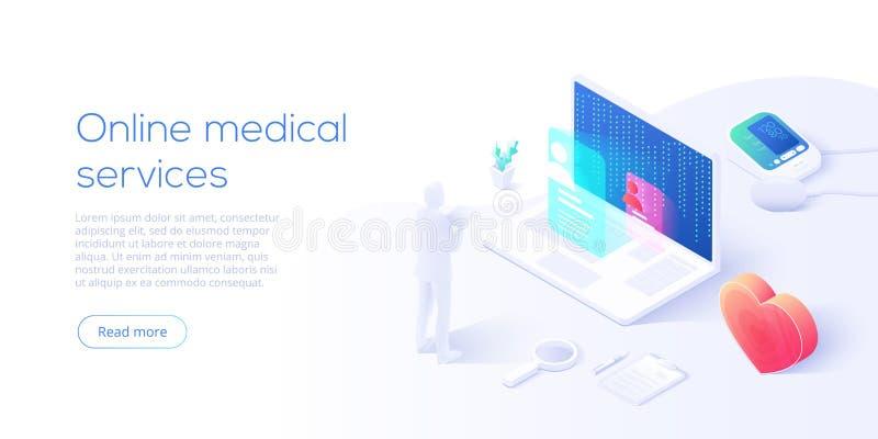 Konzept der Online-medizinischen Dienste für die Darstellung isometrischer Vektoren. Krankenhausgebäude mit einem Blutmessgerät lizenzfreie abbildung