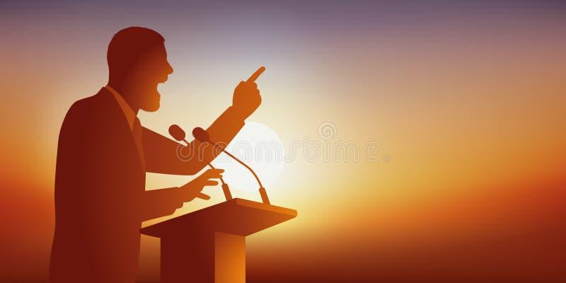 Konzept der Rede mit einem Mann, der zu einer Öffentlichkeit spricht, kommen, ihn bei seiner Sitzung zu sehen lizenzfreie abbildung