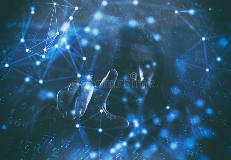 Konzept der Sicherheit mit Hacker in einer dunklen Umwelt mit den digitalen und Netzeffekten stockbild