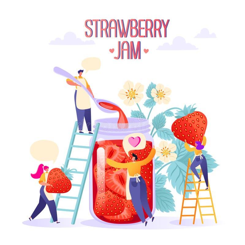 Konzept der Stauproduktion Glücklicher flacher Leutecharakter, der geschmackvolle, handgemachte organische Erdbeermarmelade in ei stock abbildung