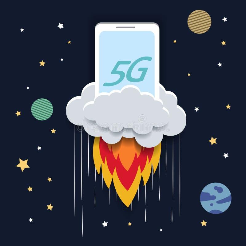 Konzept der Technologie 5G vektor abbildung