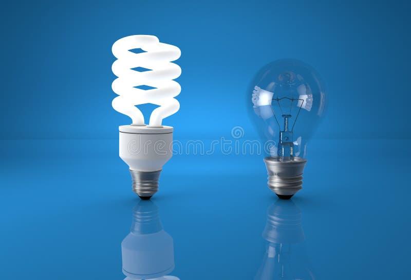 Konzept der Technologieentwicklung Energiesparende Birne, die mit vergleicht lizenzfreie stockbilder