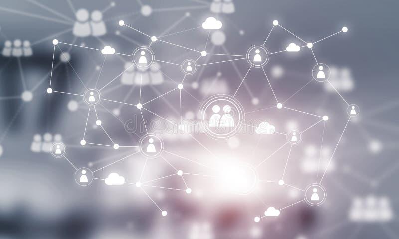 Konzept der Vernetzung und der Verbindung gegen modernes Büro verwischte Hintergrund vektor abbildung