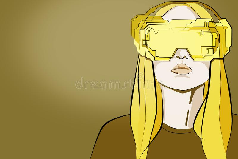 Konzept der virtuellen Realität und der Zukunft vektor abbildung