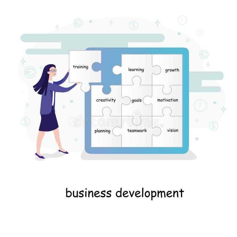 Konzept der wirtschaftlichen Entwicklung mit einer jungen Geschäftsfrau, die Puzzlespielstücke mit Text auf eine Wand setzt lizenzfreie abbildung
