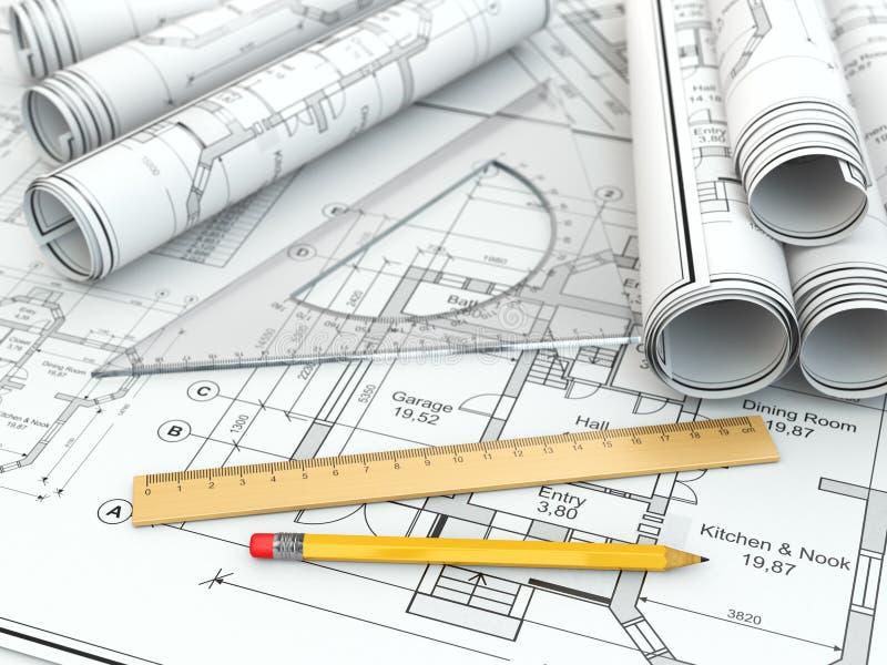 Konzept Der Zeichnung. Pläne Und Entwurfswerkzeuge. Stock Abbildung ...