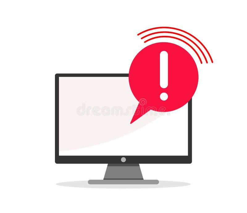 Konzept des Anwendungsfehlers Aufmerksamkeitsmitteilungsblase im Computer Vektorabbildung auf weißem Hintergrund lizenzfreie abbildung
