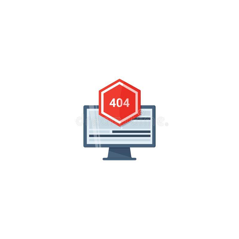 Konzept des Anwendungsfehlers Aufmerksamkeitsmitteilungsfehler Fehler 404 fand Konzept mit Fehlerseite oops und Warnzeichen stock abbildung