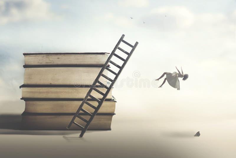 Konzept des Ausfalls mit einer Frau, die von einer Leiter fällt stockfotos