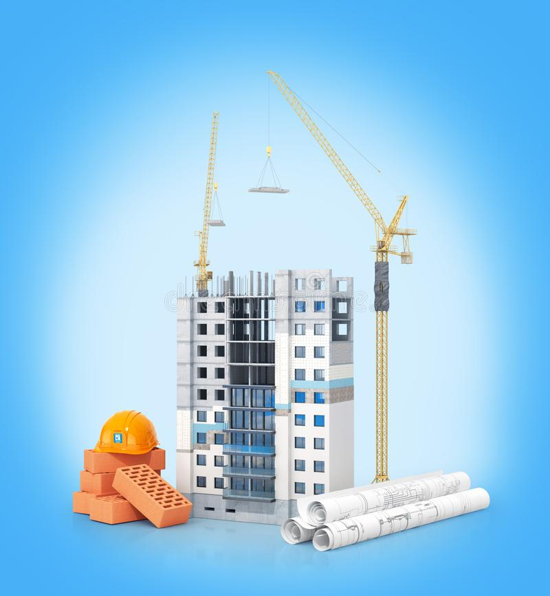 Konzept des Baus Hohes Gebäude mit Isolierfassade Zeichnungen mit einem Plan und Baumaterialien nahe dem Gebäude stockbilder