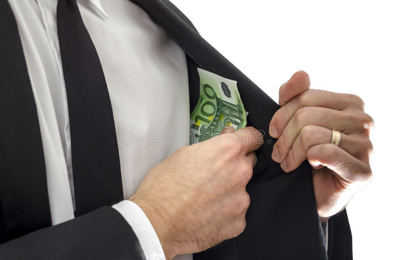 Konzept des Bestechungsgeldes stockbild