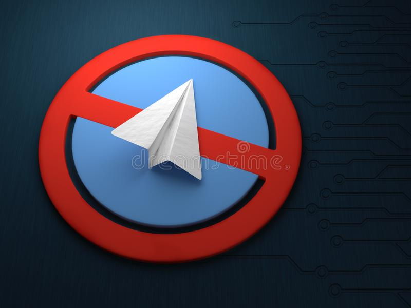 Konzept des Blockierens einer Anwendung für Mitteilungstelegramme Blockieren des Telegramms lizenzfreie abbildung