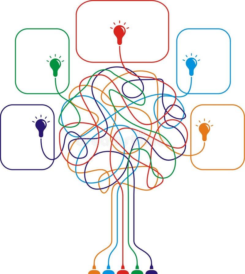 Konzept des bunten Baums mit Fühlern vektor abbildung