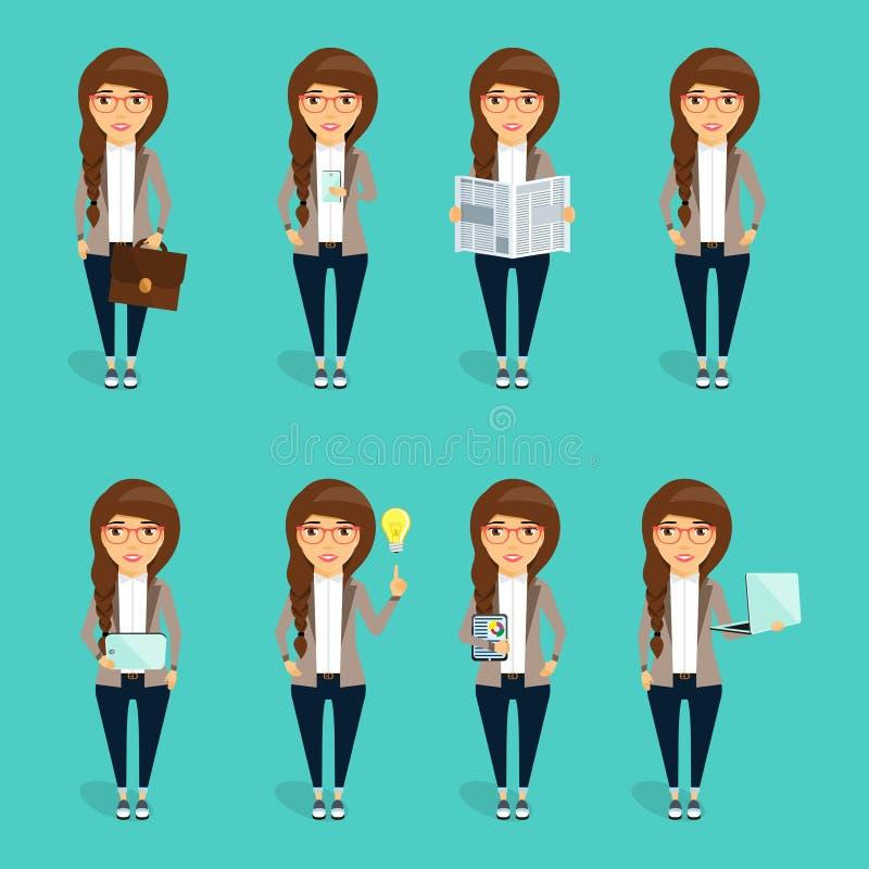 Konzept des Charakters der jungen Geschäftsfrau lizenzfreie stockfotos