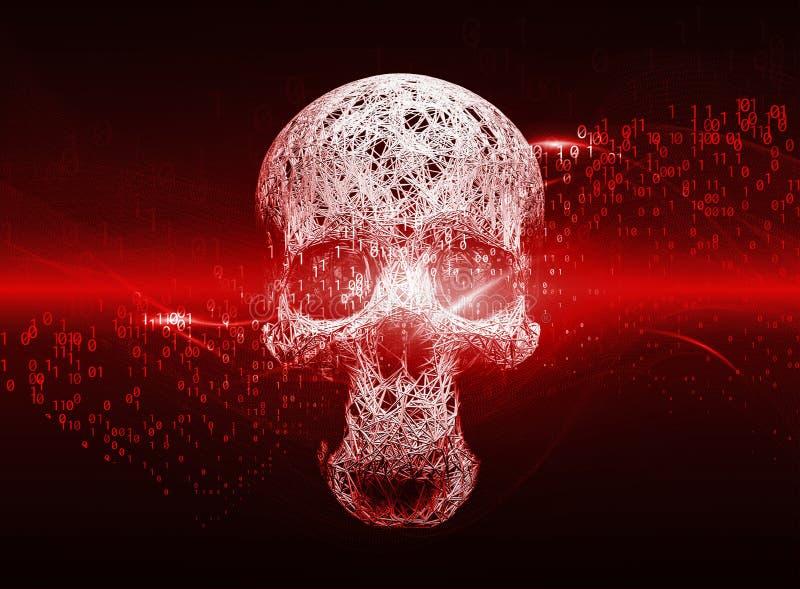 Konzept des Cyberverbrechens, der Internet-Piraterie und des Zerhackens, Form des Schädels kombiniert mit Wellen des binär Code A stock abbildung