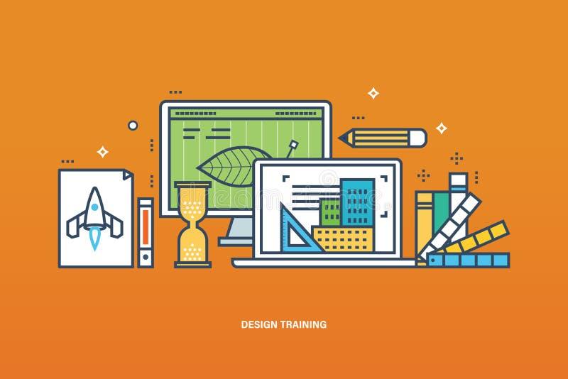 Konzept des Designtrainings, des Arbeitsflusses, der Technologie und der Designerwerkzeuge vektor abbildung