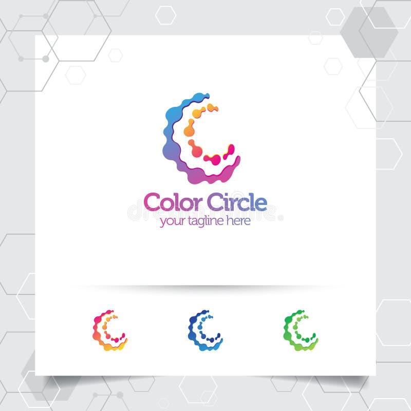 Konzept des Digital-Logoentwurfsvektor-Buchstaben C mit modernem buntem Pixel f?r Technologie, Software, Studio, App und Gesch?ft stock abbildung