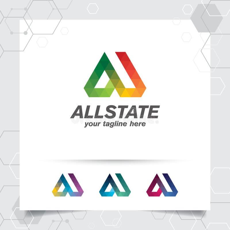 Konzept des Digital-Logoentwurfsvektor-Buchstaben A mit modernem buntem Pixel f?r Technologie, Software, Studio, App und Gesch?ft lizenzfreie abbildung