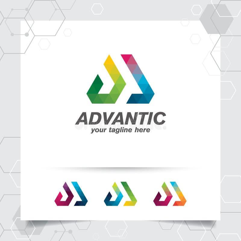 Konzept des Digital-Logoentwurfsvektor-Buchstaben A mit modernem buntem Pixel f?r Technologie, Software, Studio, App und Gesch?ft stock abbildung