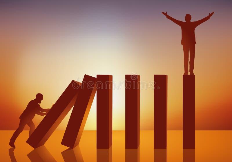 Konzept des Domino-Effektes mit einem Mann, der den Fall der Führung verursacht stock abbildung