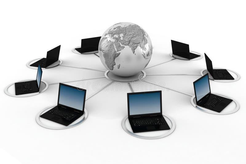 Konzept des E-Learnings 3d, getrennt auf Weiß lizenzfreie abbildung