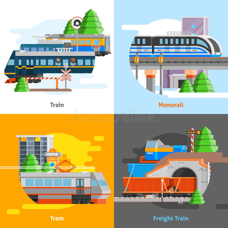 Konzept des Entwurfes des Schienenverkehr-2x2 lizenzfreie abbildung