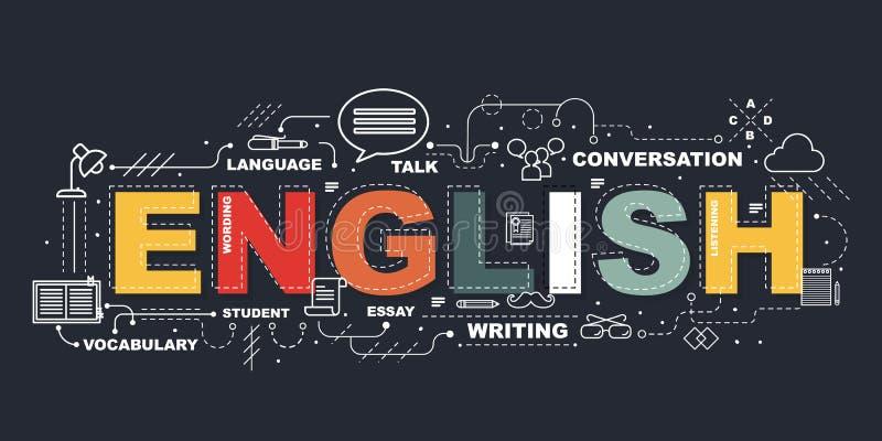 Konzept des Entwurfes Wort-der ENGLISCHEN Website-Fahne lizenzfreie abbildung
