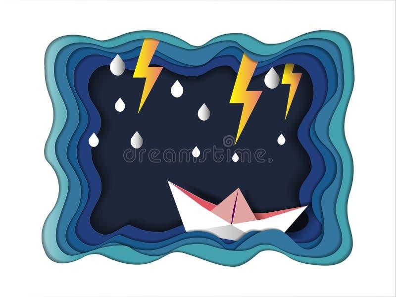 Konzept des Erfolgs, Geschäftsmann auf haltener Spitzenflagge mit Boot gegen verrücktes Meer und Blitz im Sturm, Symbol des Erfol stock abbildung