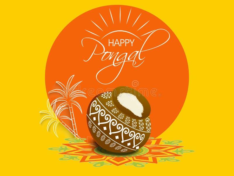 Konzept des Feierns des indischen Südfestivals glückliches Pongal lizenzfreie abbildung