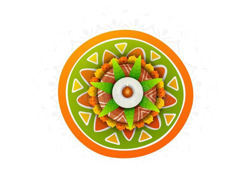 Konzept des Feierns glücklichen Pongal-Festivals vektor abbildung