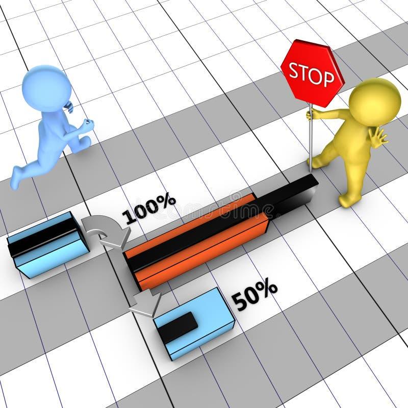 Konzept des Gantt-Diagramms mit Aufgabebeendigung stock abbildung