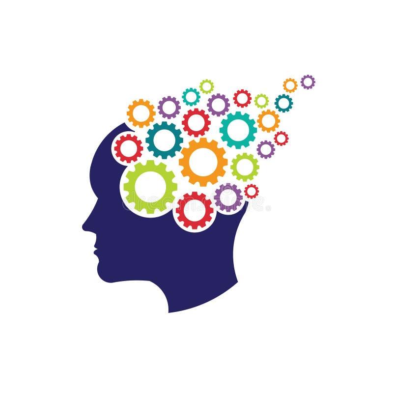 Konzept des Gehirns mit Ganglogo lizenzfreie abbildung