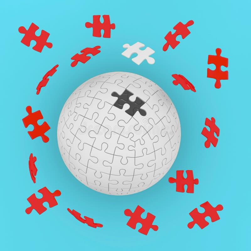 Konzept des Geschäfts, bedecken Puzzlen auf blauem Pastellhintergrund mit Erde Globales Strategielösungskonzept vektor abbildung