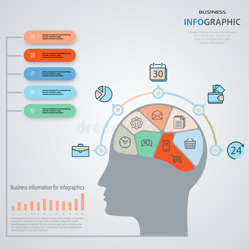 Konzept des Geschäftsmannes Infographics-Marketing-Ikonen Jährlich bezüglich vektor abbildung