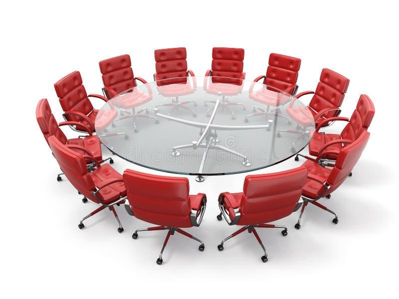Konzept des Geschäftstreffens oder des Brainstorming. Kreistabelle und rote Lehnsessel stock abbildung