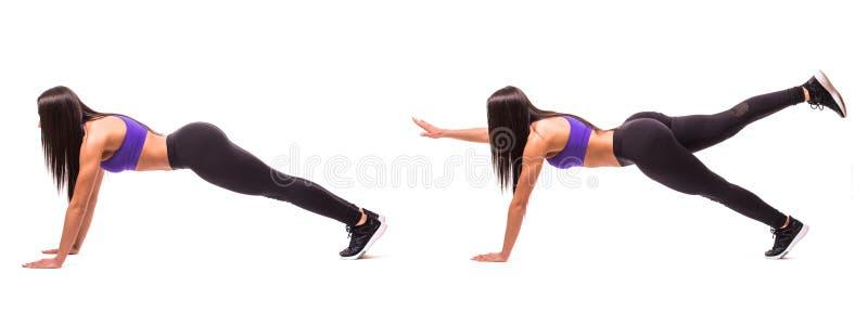 Konzept des gesunden Lebensstils im Satz Sportschönheitsfrau tun Plankeneignungsübungen auf weißem Hintergrund Frau demonstrieren lizenzfreie stockfotografie