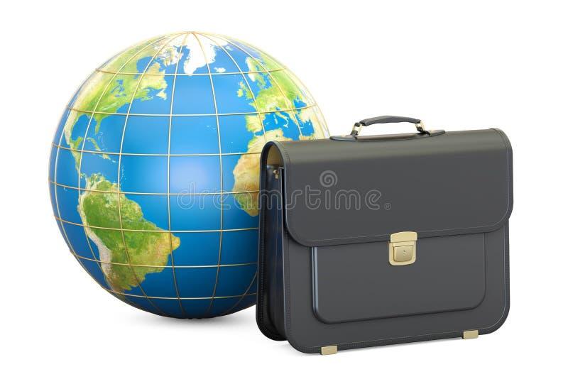 Konzept des globalen Geschäfts, Aktenkoffer mit Erdkugel renderin 3D stock abbildung