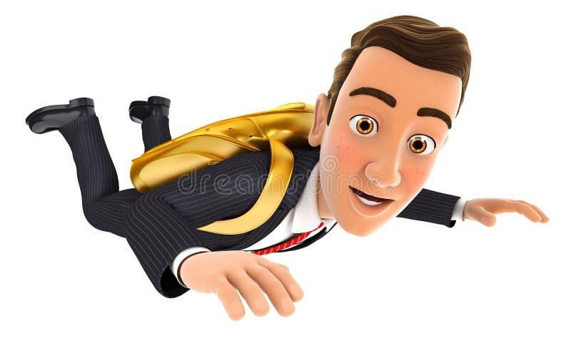 Konzept des goldenen Fallschirmes des Geschäftsmannes 3d stock abbildung