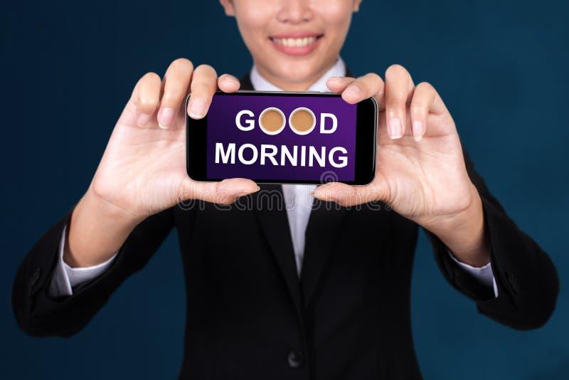 Konzept des gutenmorgens, guter Morgen glücklichen Geschäftsfrau Show-Textes stockfoto