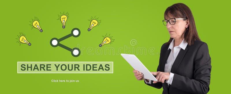 Konzept des Ideenteilens stockbild