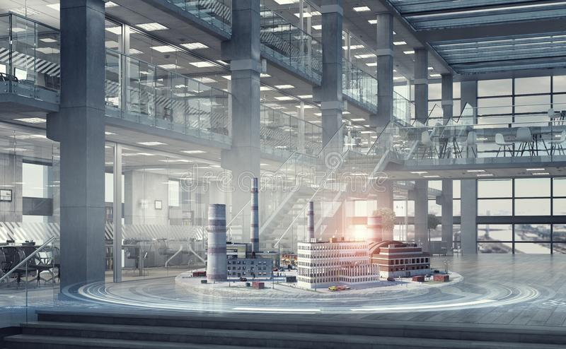 Konzept des Industriebaus Gemischte Medien lizenzfreies stockfoto