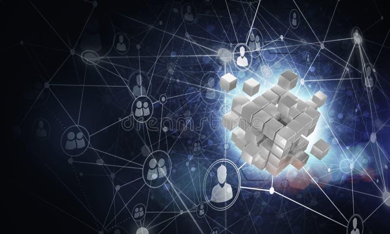 Konzept des Internets und Vernetzung mit digitalem Würfel stellen auf d dar lizenzfreie stockfotografie