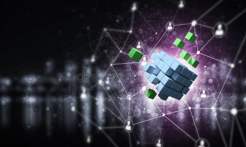 Konzept des Internets und Vernetzung mit digitalem Würfel stellen auf d dar lizenzfreies stockfoto