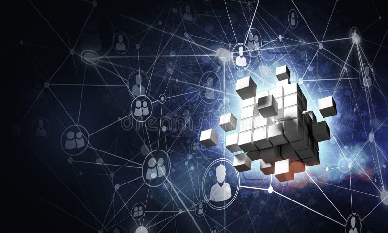 Konzept des Internets und Vernetzung mit digitalem Würfel stellen auf d dar lizenzfreie stockbilder