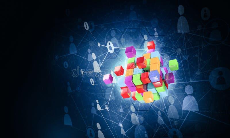Konzept des Internets und Vernetzung mit digitalem Würfel stellen auf d dar stockfotos